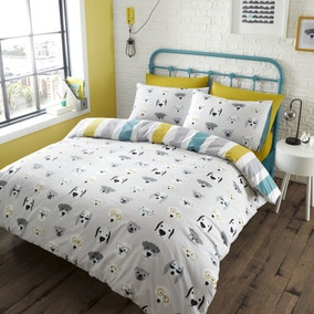 Catherine Lansfield Cool Dogs Grey Reversible Duvet Cover and Pillowcase Set