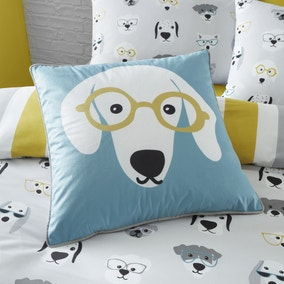Catherine Lansfield Cool Dogs Blue and Yellow Cushion