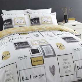 Catherine Lansfield Sleep Dreams Ochre Reversible Duvet Cover and Pillowcase Set