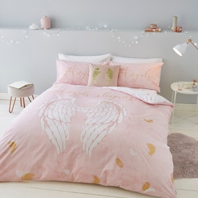 Catherine Lansfield Blush Angel Duvet Cover and Pillowcase Set