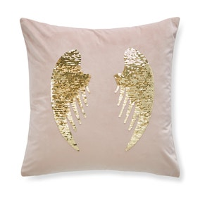 Catherine Lansfield Blush Angel Sequin Wings Cushion