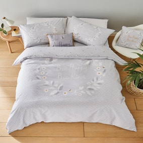 Catherine Lansfield Grey Bee Happy Duvet Cover and Pillowcase Set