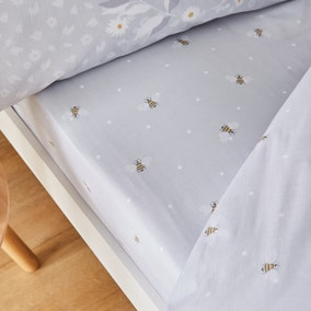 Catherine Lansfield Bee Happy Grey Fitted Sheet