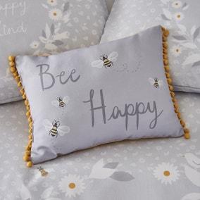 Catherine Lansfield Bee Happy Grey Cushion