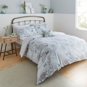 Catherine Lansfield Floral Butterfly Duck Egg Duvet Cover and Pillowcase Set