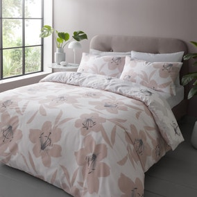 Catherine Lansfield Lily Blush Reversible Duvet Cover and Pillowcase Set