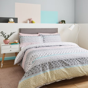 Catherine Lansfield Banded Ditsy Heart Grey and Blush Duvet Cover and Pillowcase Set