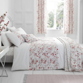 Catherine Lansfield Jasmine Floral Reverisble Duvet Cover and Pillowcase Set