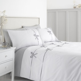 Catherine Lansfield Milo Bow White and Grey Duvet Cover and Pillowcase Set