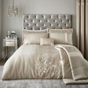 Catherine Lansfield Velvet Sparkle Champagne Duvet Cover and Pillowcase Set