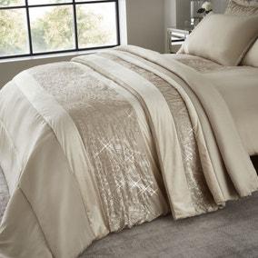 Catherine Lansfield Velvet Sparkle Champagne Bedspread