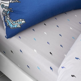 Catherine Lansfield Blue Dinobot Fitted Sheet