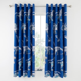Catherine Lansfield Blue Dinobot Blackout Eyelet Curtains