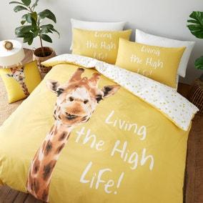 Catherine Lansfield Yellow Giraffe Duvet Cover and Pillowcase Set