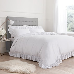 Bianca 100% Cotton White Relaxed Frills Duvet Cover and Pillowcase Set