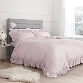 Bianca 100% Cotton Blush Relaxed Frills Duvet Cover and Pillowcase Set