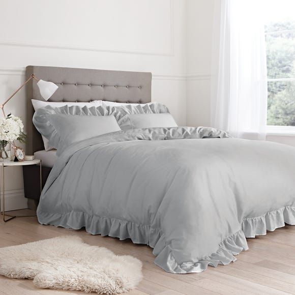Bianca 100% Cotton Silver Relaxed Frills Duvet Cover and Pillowcase Set  undefined