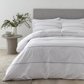 Content By Terence Conran Halstead Pleats White and Grey Striped 100% Cotton Duvet Cover and Pillowcase Set