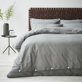 Content By Terence Conran Washed Textured Grey 100% Cotton Duvet Cover and Pillowcase Set