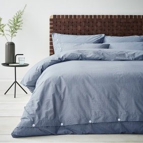 Content By Terence Conran Washed Textured Blue 100% Cotton Duvet Cover and Pillowcase Set