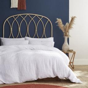 Pineapple Elephant Caspian White Waffle 100% Cotton Duvet Cover and Pillowcase Set