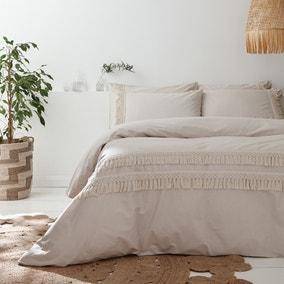 Pineapple Elephant Izmir Stone Grey Tassel 100% Cotton Duvet Cover and Pillowcase Set