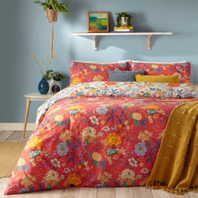Azalea Red Reversible Duvet Cover and Pillowcase Set