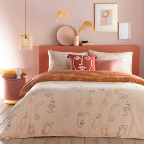 Furn. Kindred Apricot Reversible Duvet Cover and Pillowcase Set