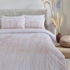 The Linen Yard Pampas Grass Blush 100% Cotton Reversible Duvet Cover and Pillowcase Set
