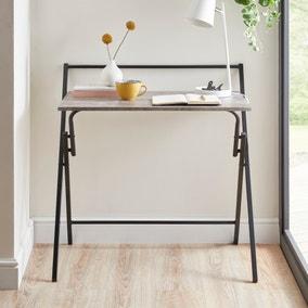 Evelyn Concrete Effect Folding Desk