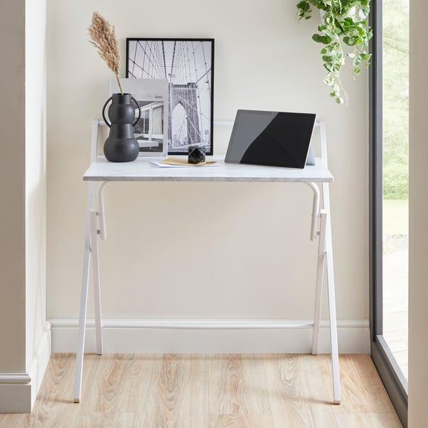 Evelyn Marble Effect Folding Desk