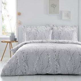 Belle Grey Reversible Duvet Cover and Pillowcase Set