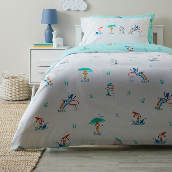 Colourful Crayons Anti Bacterial Reversible Duvet Cover and Pillowcase Set  undefined