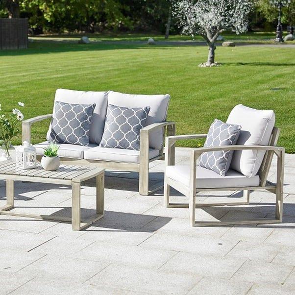 Rochester 4 Seater Hardwood Grey Sofa Set Light Grey