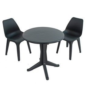 Levante 2 Seater Anthracite Bistro Set with Eolo Chairs