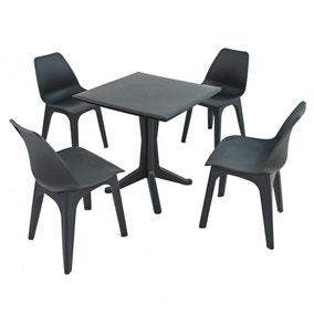 Ponente 4 Seater Anthracite Dining Set with Eolo Chairs