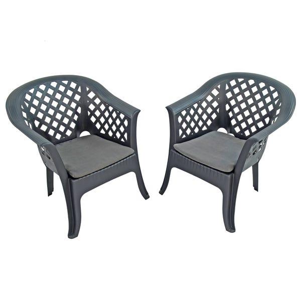 Savona Set of 2 Anthracite Chairs Dark Grey