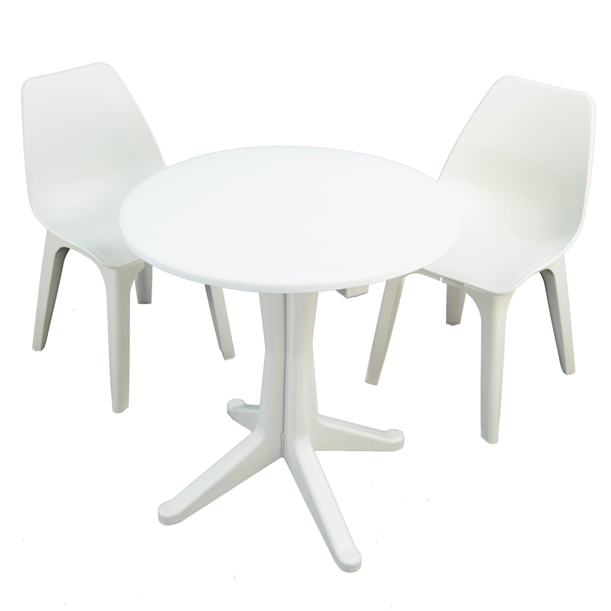 Levante 2 Seater White Bistro Set with Eolo Chairs White