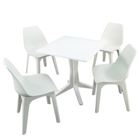 Ponente 4 Seater White Dining Set with Eolo Chairs