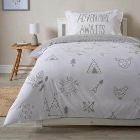Into the Woods Grey Single Reversible Duvet Cover and Pillowcase Set Twin Pack
