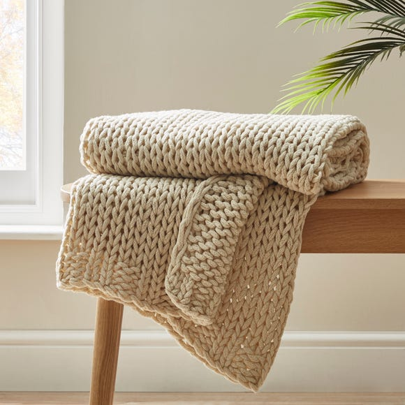 Chunky Hand-Knitted Natural Knit Throw Natural (Brown) undefined