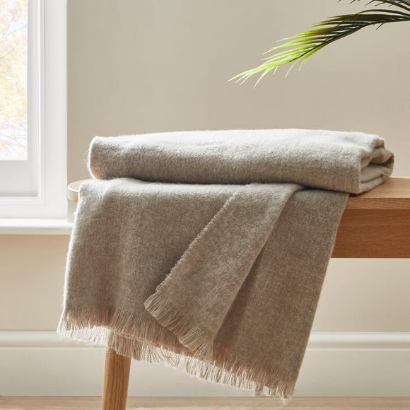 Brushed Grey Woven Throw Grey undefined