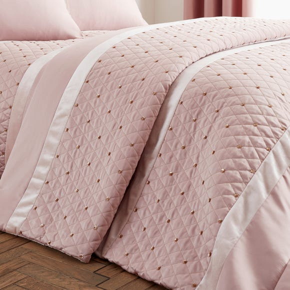 Catherine Lansfield Sequin Cluster Blush Bedspread
