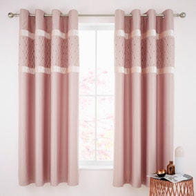 Catherine Lansfield Blush Sequin Cluster Eyelet Curtains