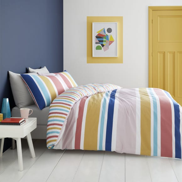 Catherine Lansfield Brighton Bright Stripe Duvet Cover and Pillowcase Set  undefined