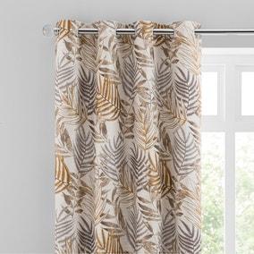 Leaf Jacquard Butterscotch Eyelet Curtains
