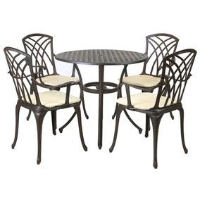 Cast Aluminium 4 Seater Round Bronze Dining Set