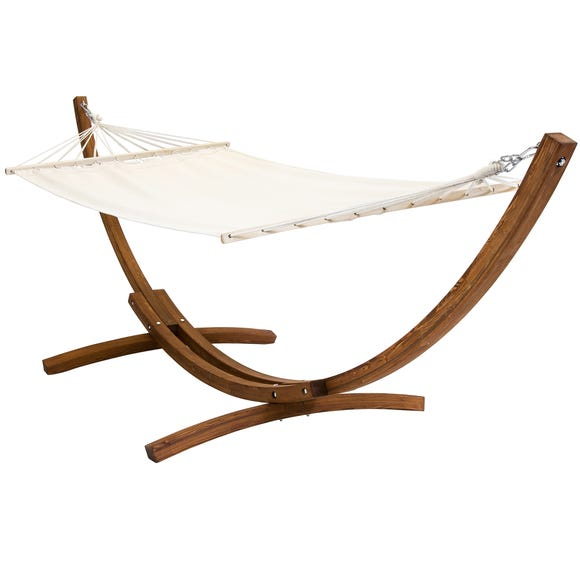 Wooden Hammock With Arc Stand Cream Canvas Wood (Brown)