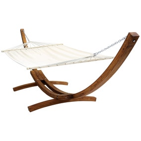 Extra Large Wooden Hammock With Arc Stand Cream Canvas