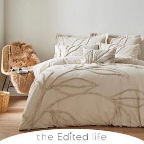 Tufted Leaf Sandstone 100% Organic Cotton Duvet Cover and Pillowcase Set